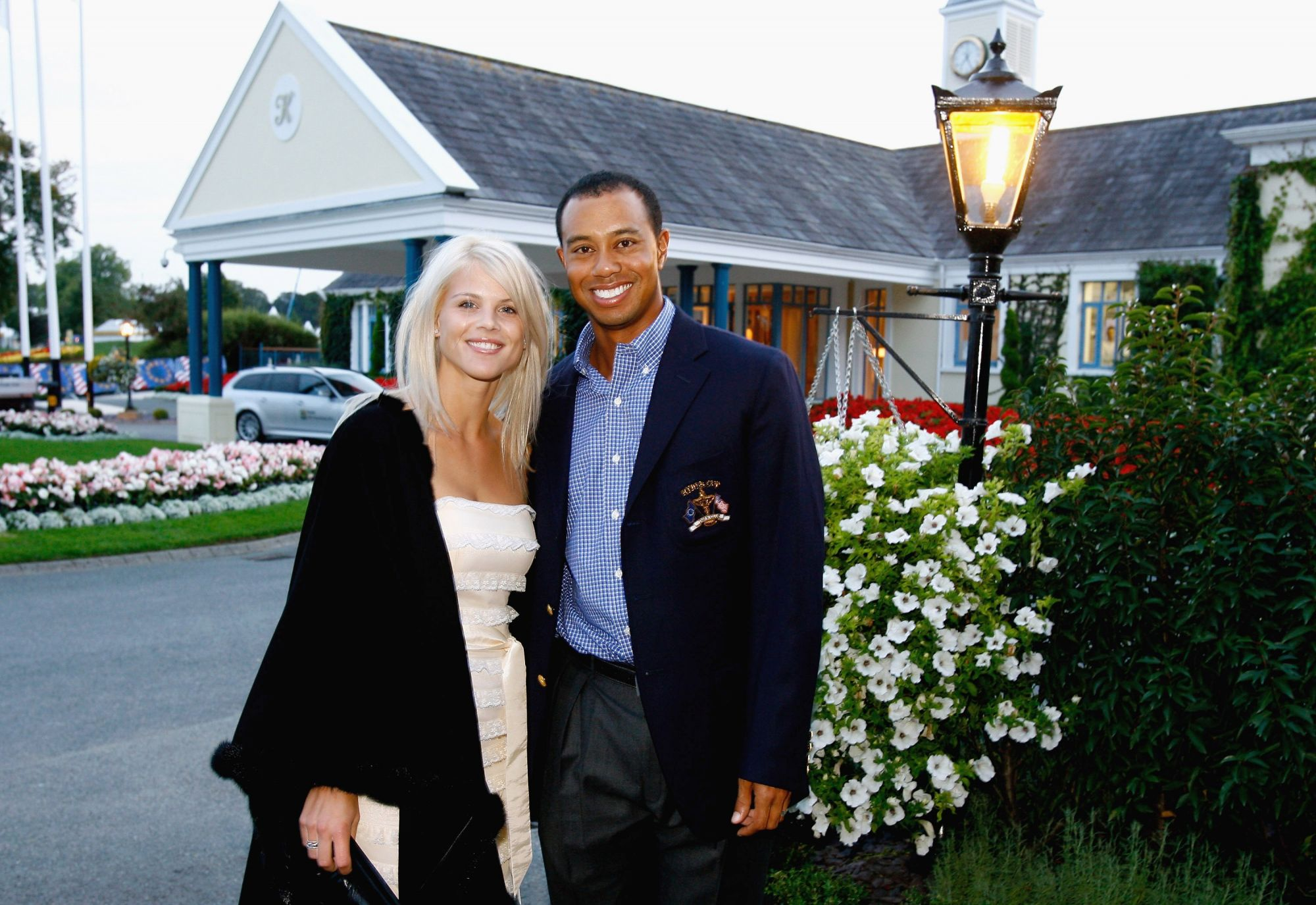 KILDARE, IRELAND - SEPTEMBER 19: Tiger Woods of USA poses with his wife Elin Nordegren at The Welcome Dinner after the first official practice day of the 2006 Ryder Cup at The K Club on September 19, 2006 in Straffan, Co. Kildare, Ireland. (Photo by David Cannon/Getty Images)