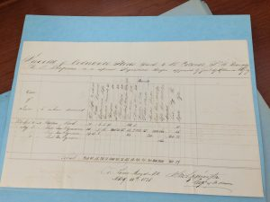 Military Inventory Sheet by James Clyman 1833 Photo taken by Denise Colby - great, great, great granddaughter