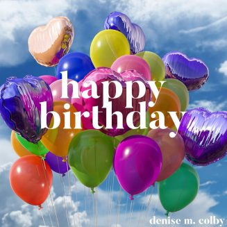 Happy Birthday graphic with balloons and blue sky and clouds in the background