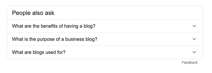 What's the point of a blog post? google search additional questions screen shot for post on Blog Creation Process