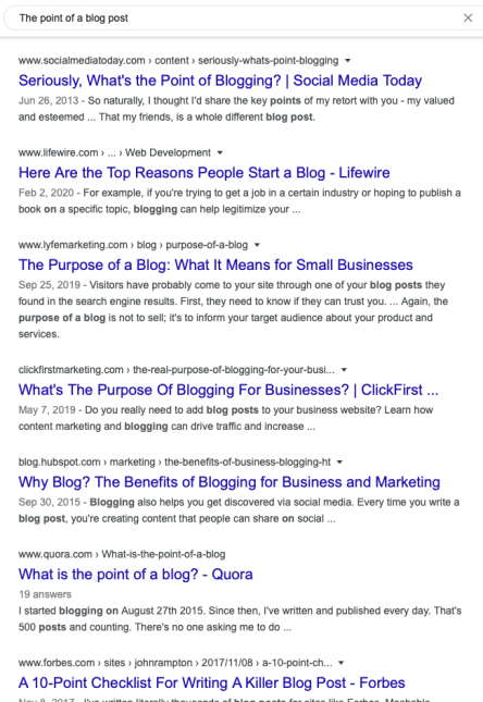 What's the point of a blog post? google search page results screen shot for post on Blog Creation Process