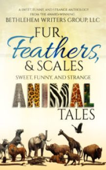 The cover title fur, feathers, and scales sweet, funny, and strange animal tales with a group of animals along the bottom edge