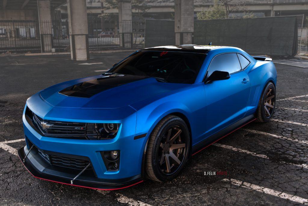 Car Rims And Tires Wallpaper Matte Blue 2014 Chevy Camaro Zl1 On Ferrada Wheels Rides