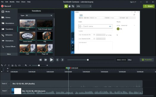Camtasia is a good choice for screen capture software.