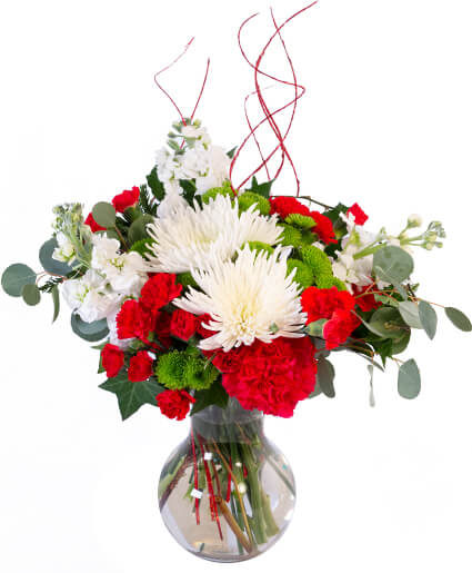 Jolly Red White Christmas Flower Arrangement In Greenfield Ma Floral Affairs