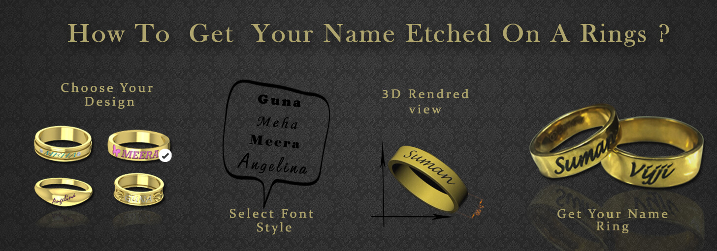 Name Engraved Gold Rings Wedding Couple Rings Wedding