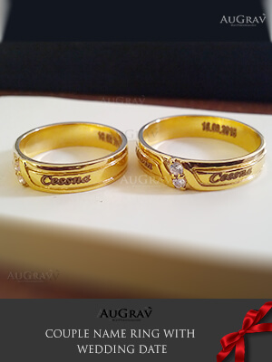 Name Engraved Gold Rings Wedding Couple Rings Wedding Rings Platinum Engraved Name Rings