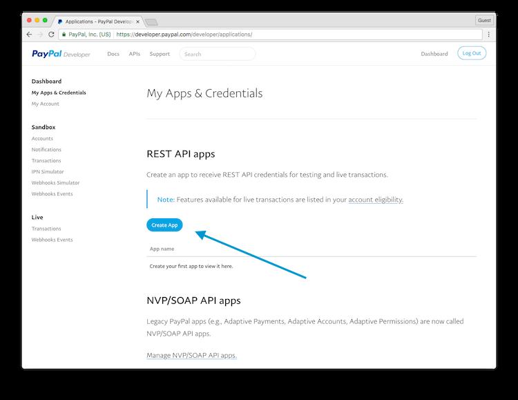 Obtain a PayPal Client Id and Secret