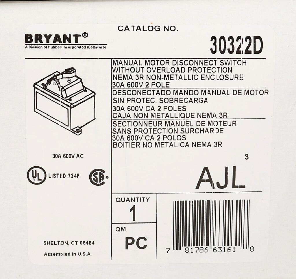 Manual Motor Controller: 30A, 2-pole, 15hp, NEMA 3R (PN