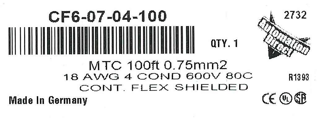 Continuous Flexing Multi-conductor Control Cable: 0.75mm2