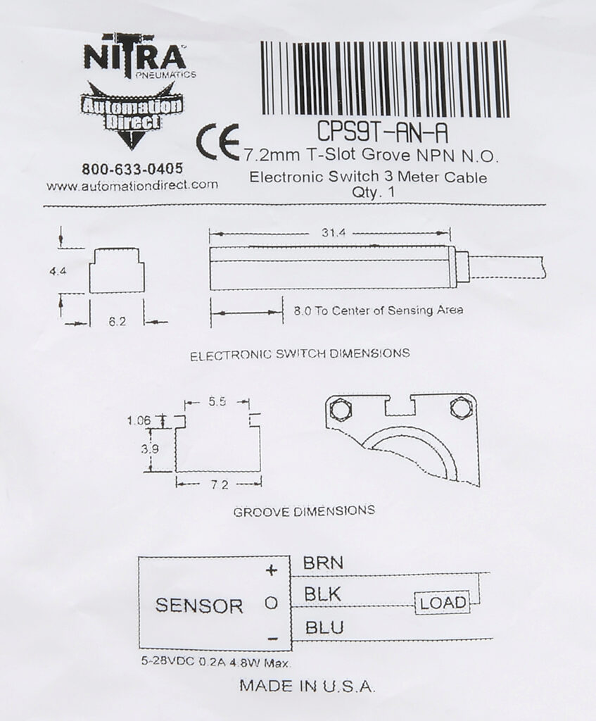 Cylinder Switch: rectangular, NPN, N.O. output (PN# CPS9T