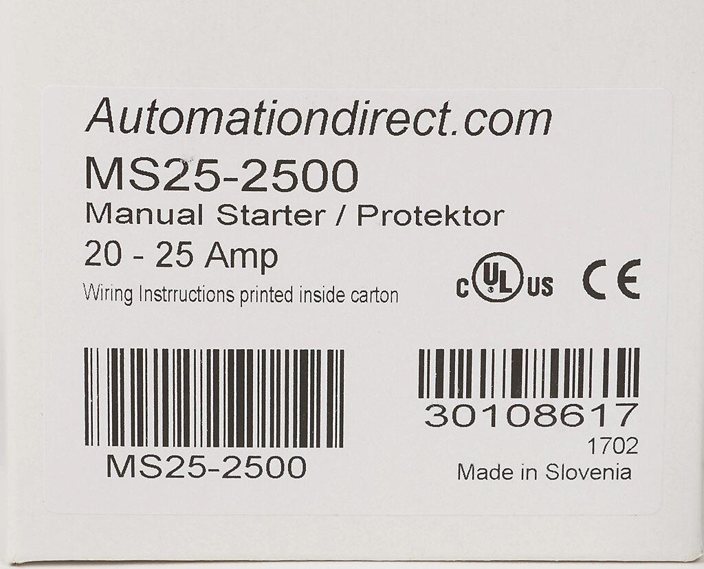 Manual Motor Starter: 45mm frame, 20-25A adjustable (PN