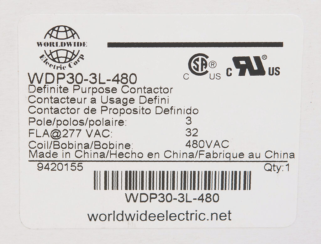 Definite Purpose Contactor 32a 480 Vac 50 60 Hz Coil