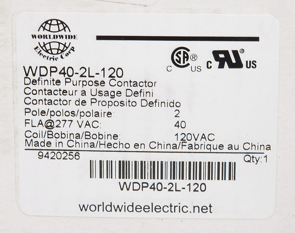 Definite Purpose Contactor 40a 120 Vac 50 60 Hz Coil