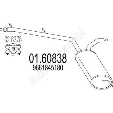 Tlmič výfuku stredný Fiat Scudo 07> 2,0JTD 88kW, 103kW