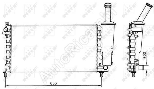 Chladič vody Fiat Punto 99> 1.2 typ Valeo 579x322x23
