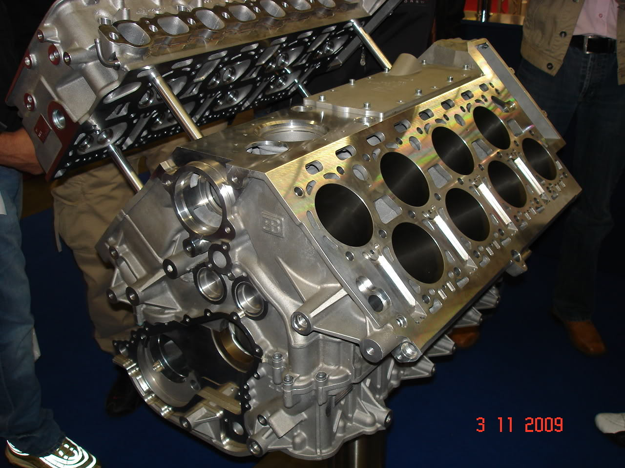 hight resolution of the bare block of a veyron engine showing the cylinder configuration