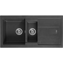 black sink kitchen shelving ideas sinks stainless steel undermount round more carron phoenix bali granite composite 1 2 bowl drainer jet
