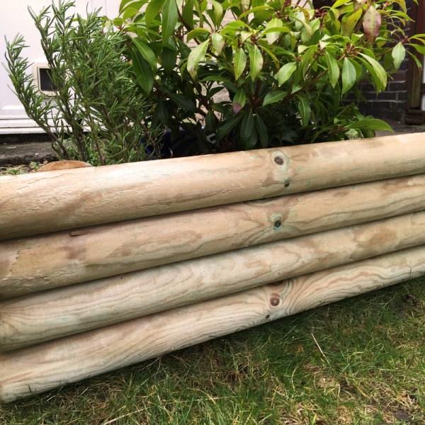 log lawn edge 100 x 23cm