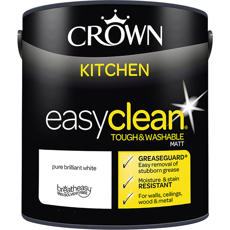 Crown Breatheasy Kitchen Emulsion Paint 2 5L Pure Brilliant White
