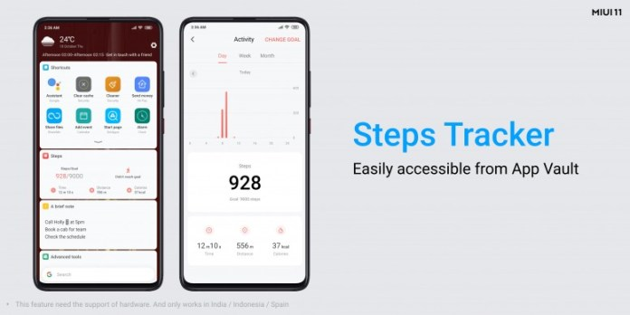 Step walked can be viewed in the App Vault.