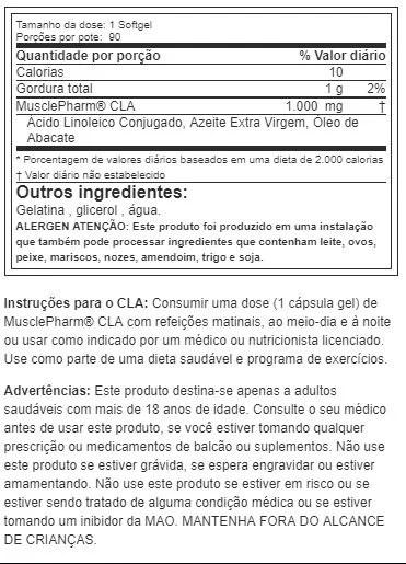 CLA Muscle Pharm 1000 mg, 90 Cápsulas