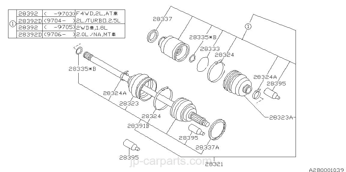 Junta Homocinética Subaru Legacy, Impreza, Forester,1991