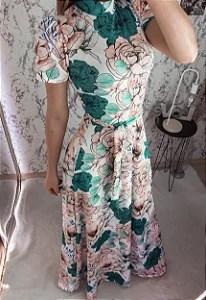 Vestido Longo Estampa Floral em Suplex Soft Intermediário - Moda Cristã -  Flor de Amêndoa