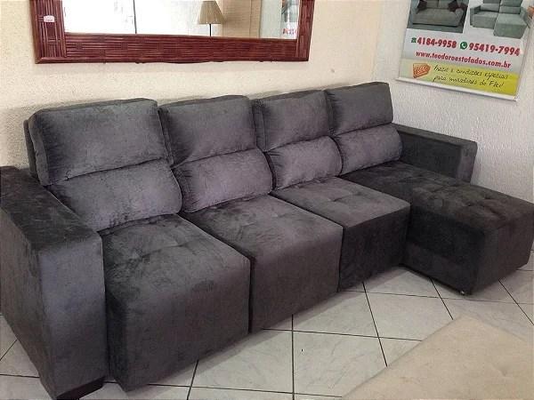 Sofá Retrátil Reclinável 5 Lugares Com Chaise