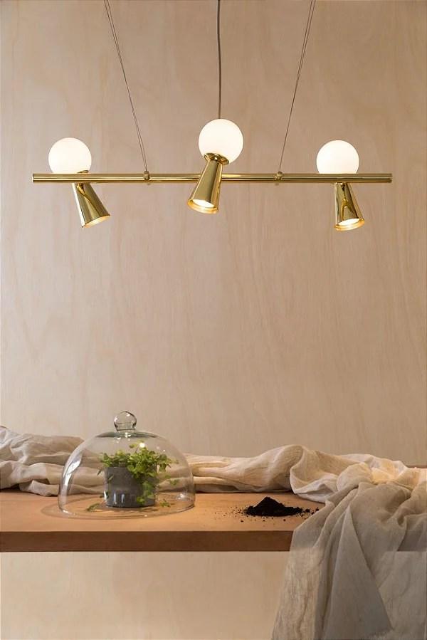 Lustre Pivo 3 Dourado  Luminria  Iluminao Residencial