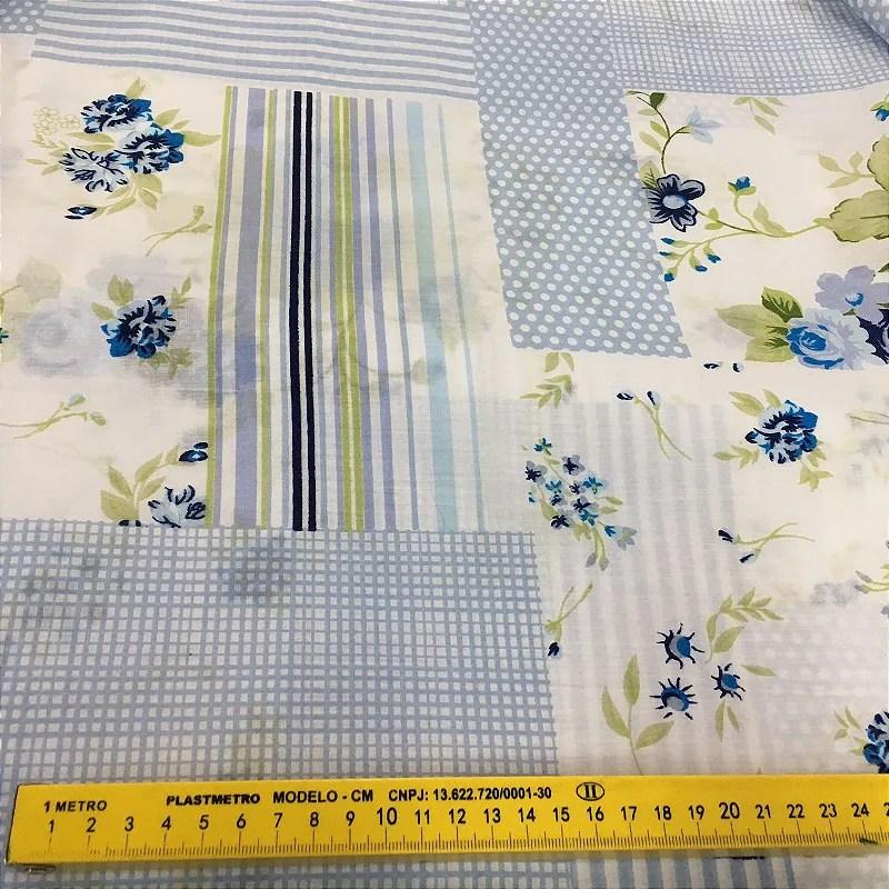 Tecido Tricoline Chita Patchwork Poa e Flores Azul