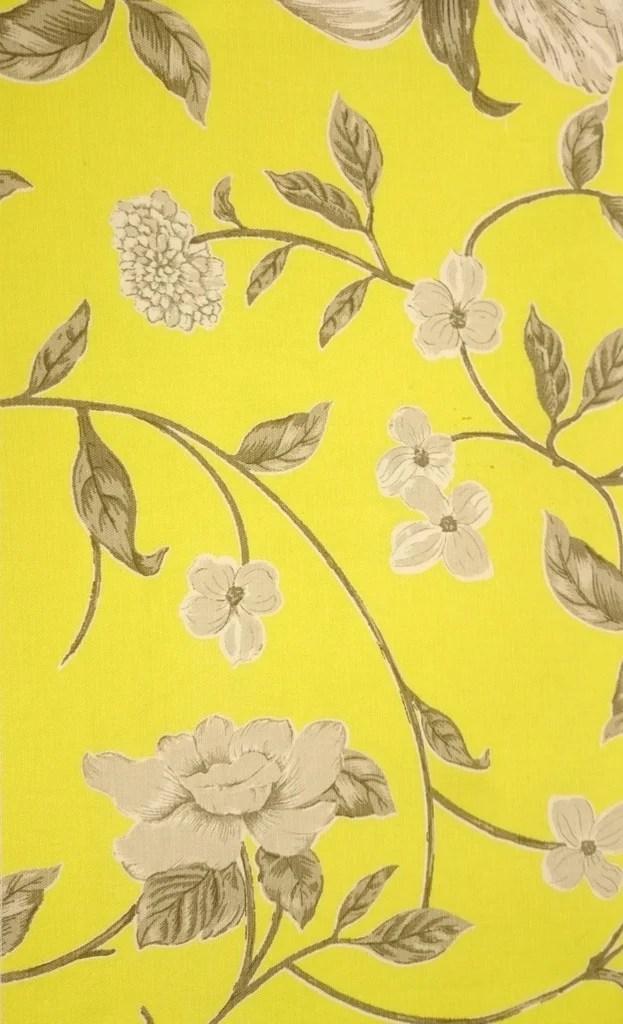Tecido algodo impermeabilizado Liso Amarelo Floral Cinza