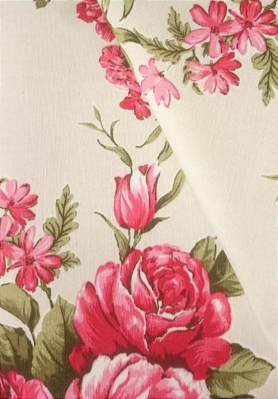 Tecido algodo impermeabilizado Liso Creme Floral Verde e Vermelho  Site de tecidos para sof cortinas papel de parede e mveis
