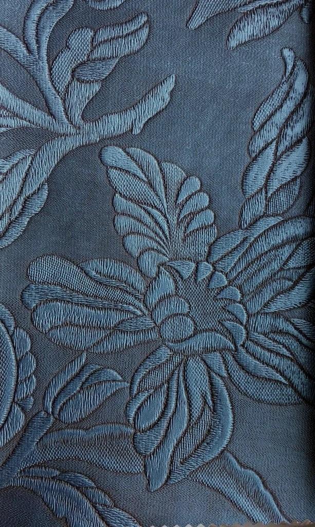 Tecido courvin Floral Azul Petroleo com leve brilho