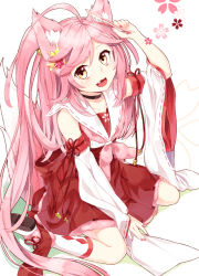 happy pink haired cat girl original