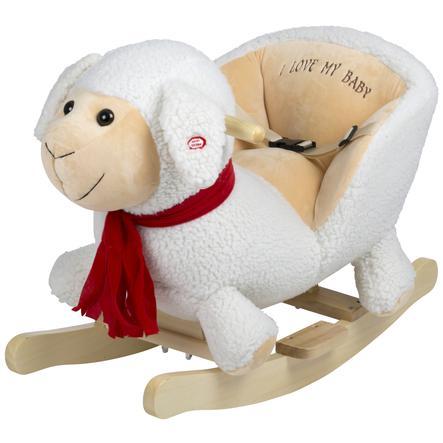 mouton a bascule blanc bois