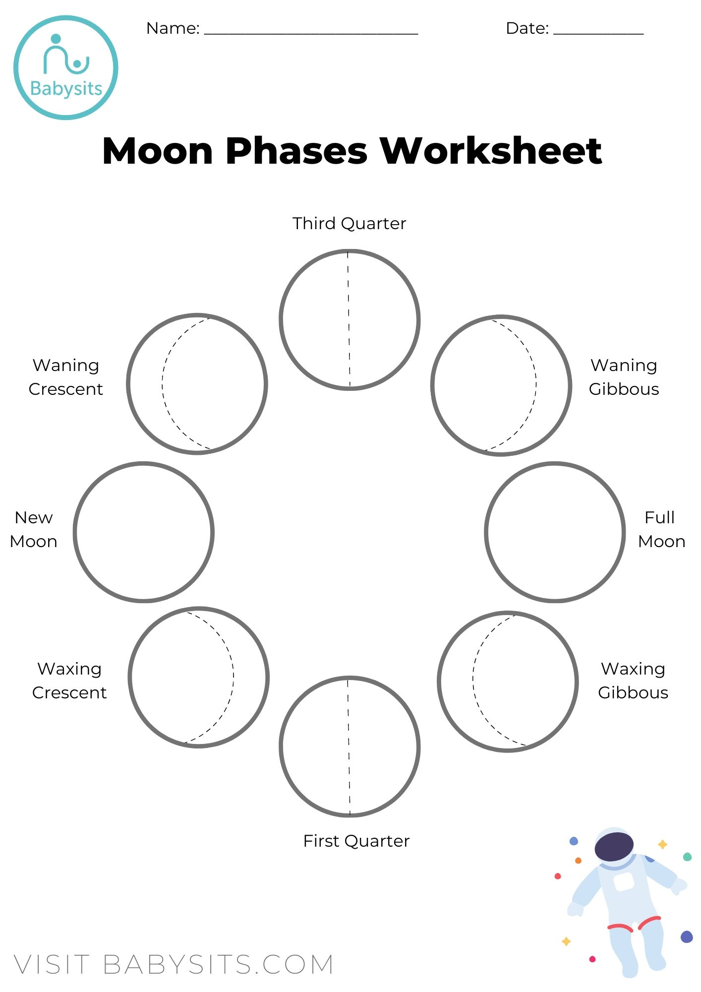 hight resolution of Phases of the Moon Space Crafts for Kids with Moon Phases Worksheet