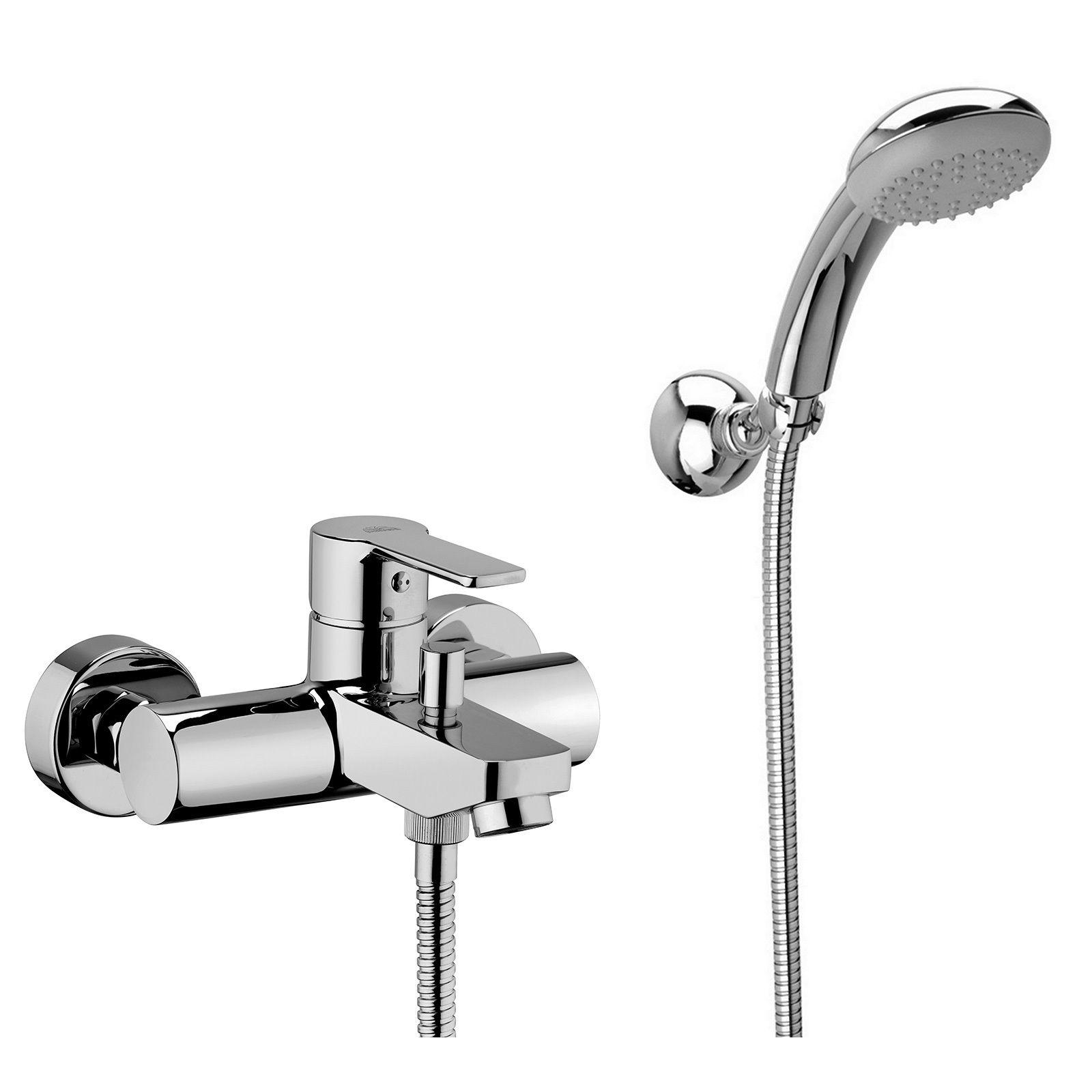 robinet mitigeur pour baignoire avec support mural articule douchette et tuyau flexible rb26