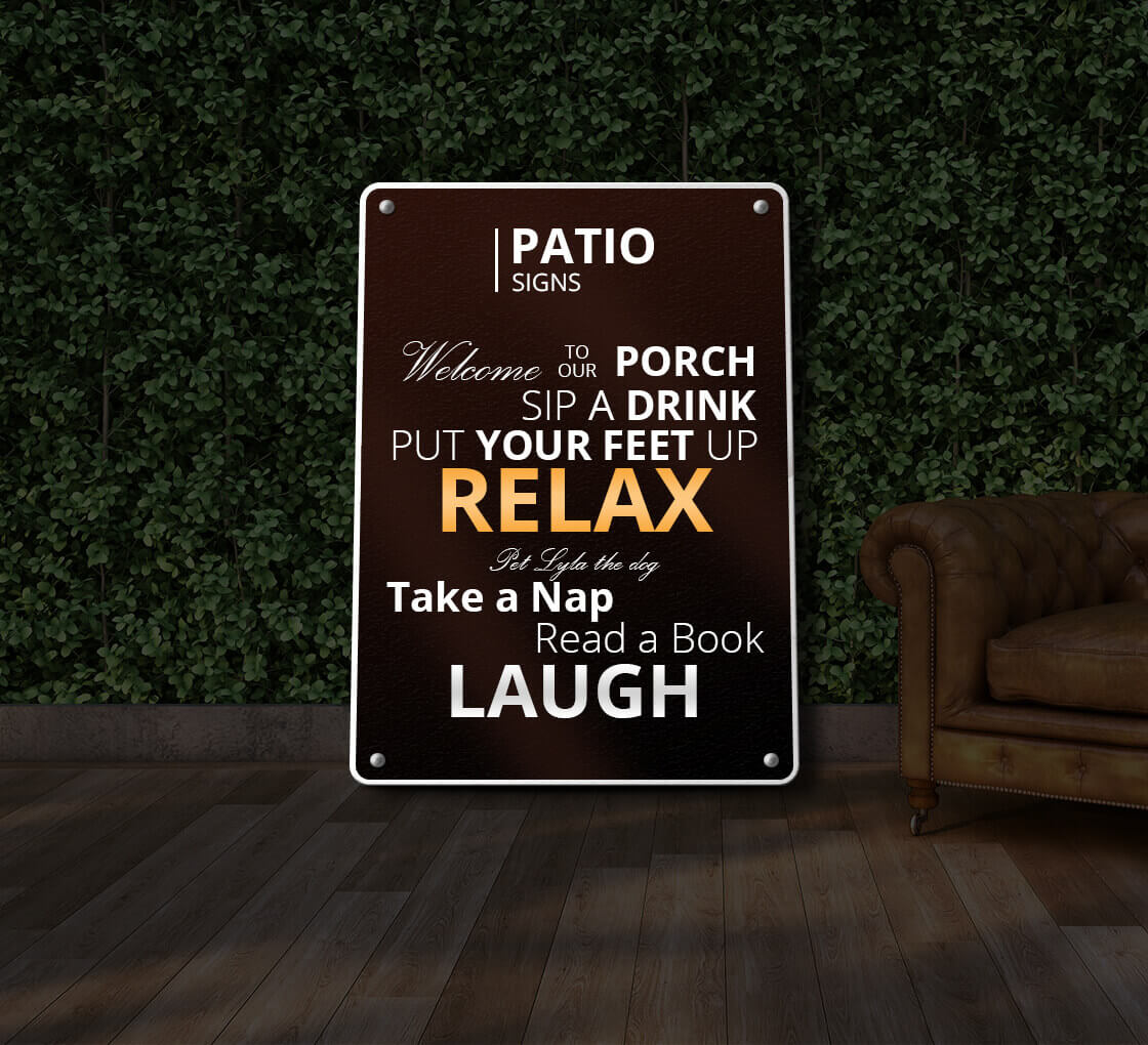 reflective patio signs