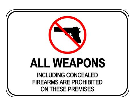 Shop All Weapons Concealed Firearms Prohibited Sign With