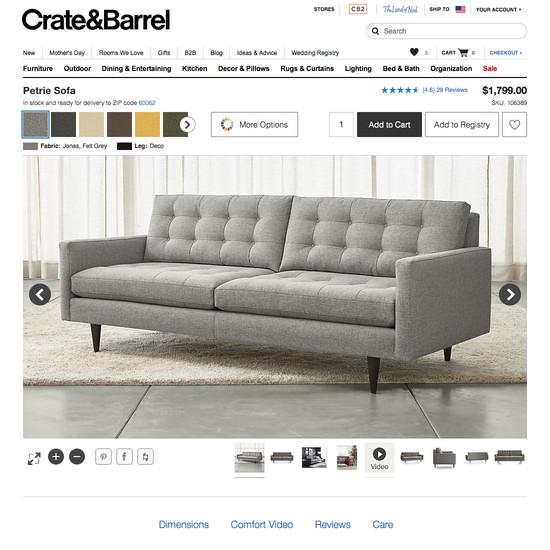 delta sofa debenhams best leather sofas canada 120 product page design examples baymard institute crate barrel 2017