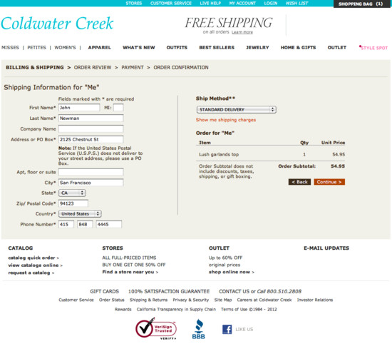 Coldwater Creek Online Bill Pay