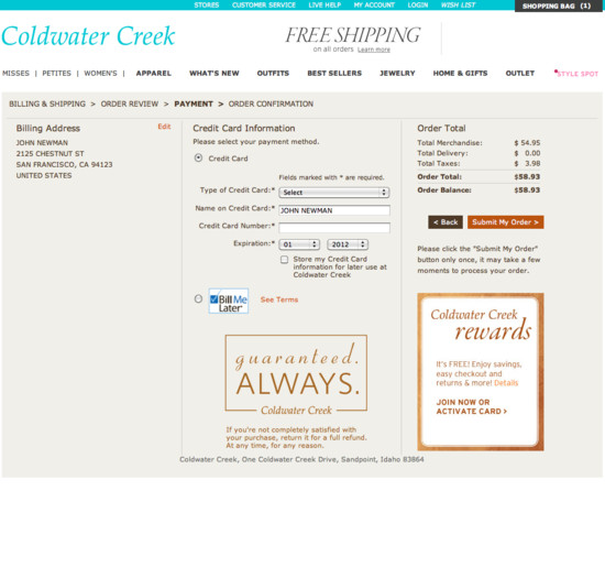 Coldwater Creek Credit Card Phone Number