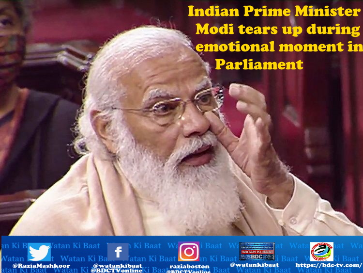 ndian Prime Minister Modi tears up during emotional moment in Parliament