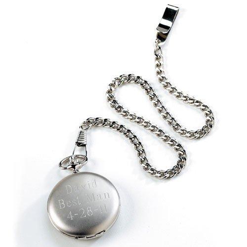 Engraved Brushed Silver Pocket Watch