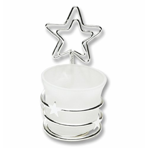 Silver Star Candle Place Card Holder