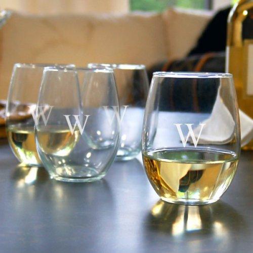 Monogrammed Stemless Wine Glasses Gift Set