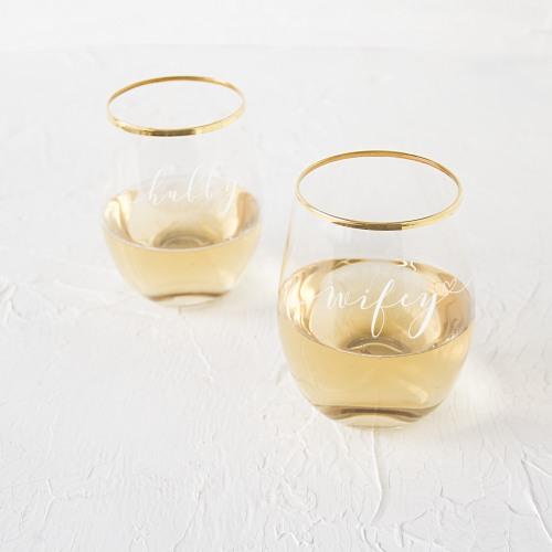 Hubby & Wifey Stemless Wine Glasses