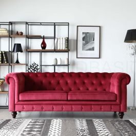 chesterfield sofa material with a chaise hugo 3 seater red velvet fabric bedandbasics sg