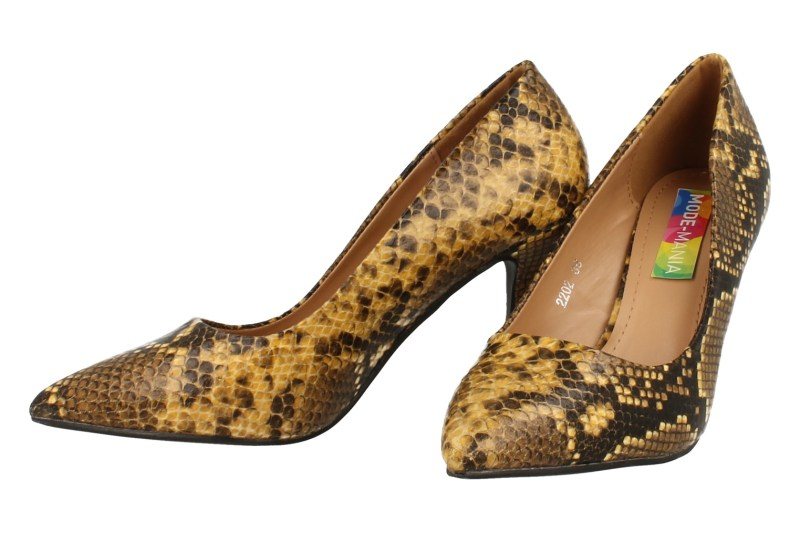 Mode-Mania Pump Dames Trend Snakeprint - Geel